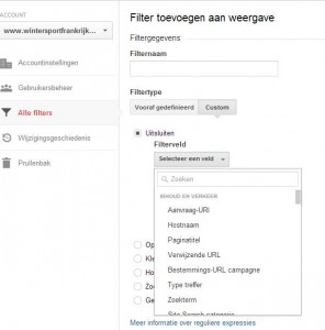 filter aanmaken in Google Analytics