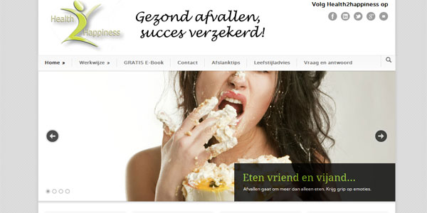 website Health2happiness.nl Modernize WordPress theme